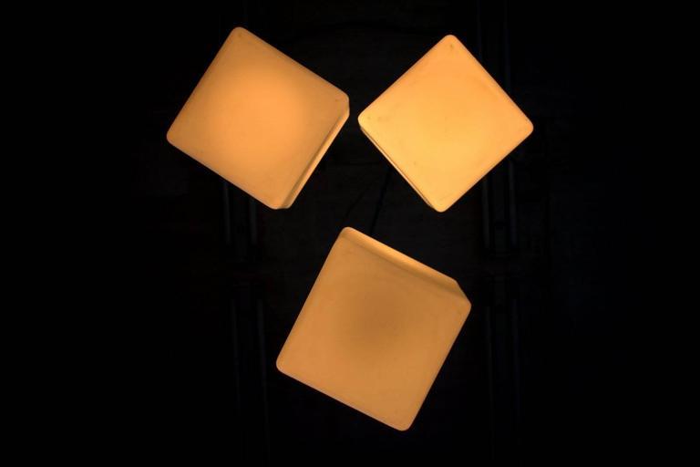 Set of Three Milk Glass Cube Pendants by Stilnovo, Italy, 1960s 3