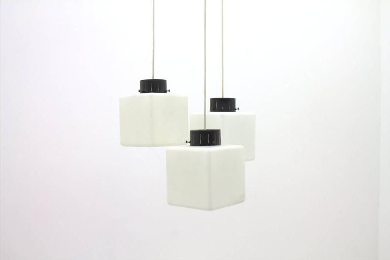 Set of Three Milk Glass Cube Pendants by Stilnovo, Italy, 1960s 5