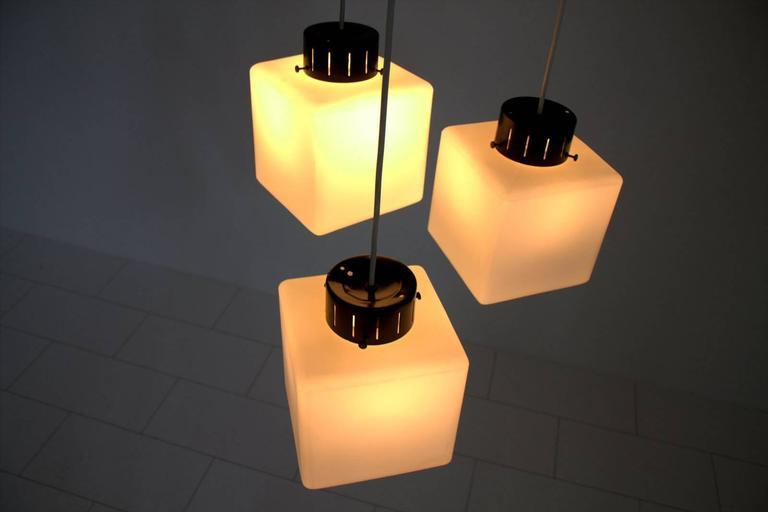 Set of Three Milk Glass Cube Pendants by Stilnovo, Italy, 1960s 8