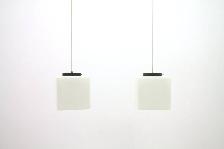 Pair of Milk Glass Cube Pendants by Stilnovo, Italy, 1960s 7
