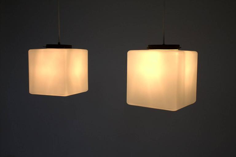 Pair of Milk Glass Cube Pendants by Stilnovo, Italy, 1960s 3