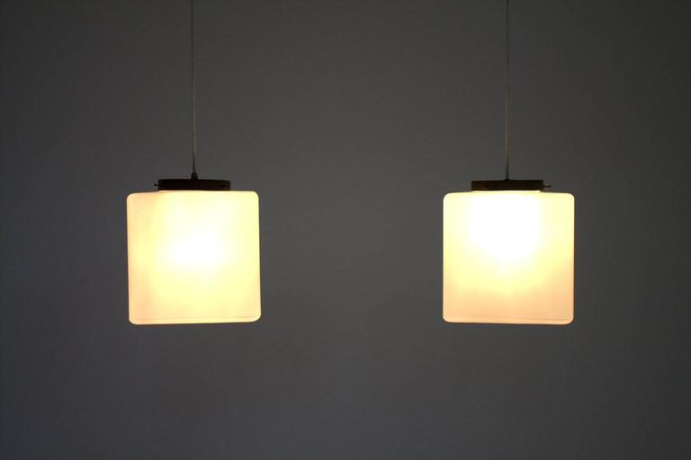 Pair of Milk Glass Cube Pendants by Stilnovo, Italy, 1960s 4