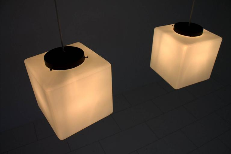 Pair of Milk Glass Cube Pendants by Stilnovo, Italy, 1960s 5
