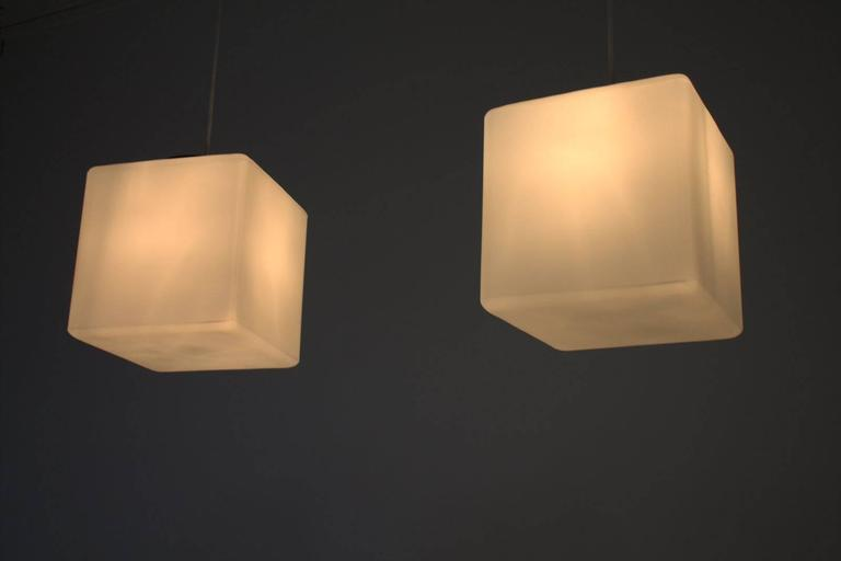 Pair of Milk Glass Cube Pendants by Stilnovo, Italy, 1960s 2