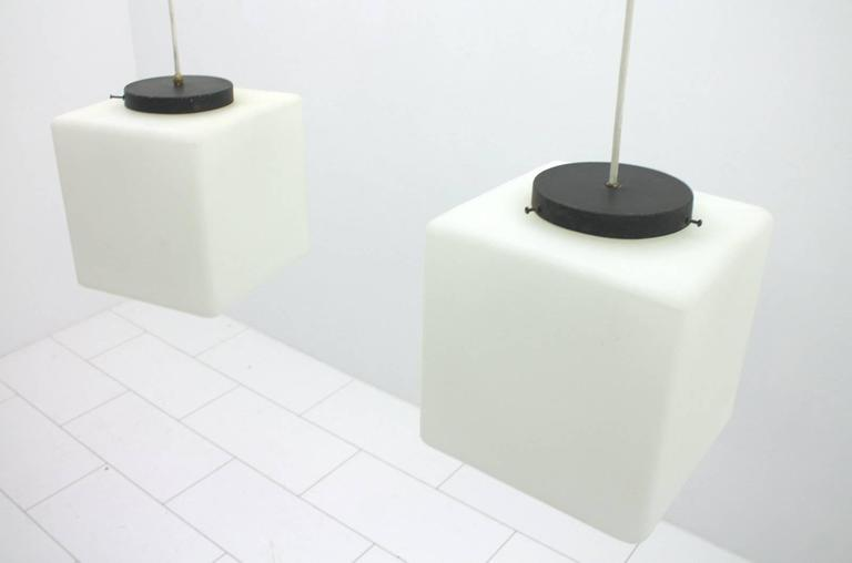 Pair of Milk Glass Cube Pendants by Stilnovo, Italy, 1960s 6