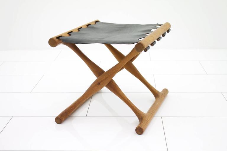 Scandinavian Modern Poul Hundevad Folding Stool, Teak and Leather For Sale