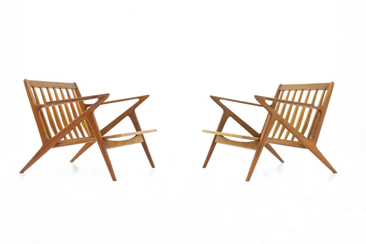 Pair Of Danish Teak Wood Z Lounge Chairs By Poul Jensen For Selig 1960s For Sale At 1stdibs