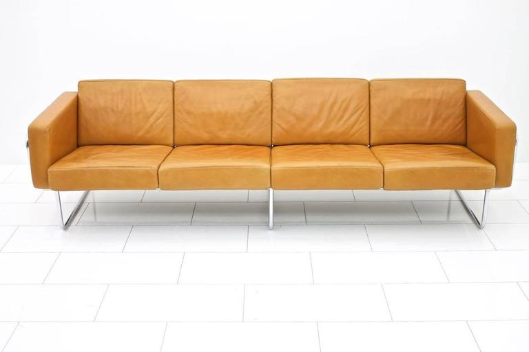 Rare Four-Seat Leather Sofa by Hans Eichenberger for Strässle, Switzerland 1