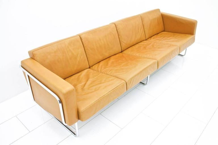 Swiss Rare Four-Seat Leather Sofa by Hans Eichenberger for Strässle, Switzerland