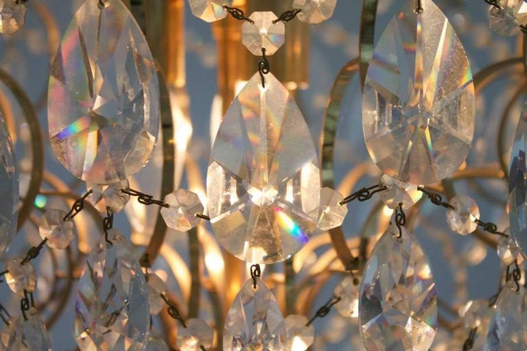Swarovski Crystal Glass and Gold Chandelier, 1970s In Good Condition For Sale In Frankfurt / Dreieich, DE