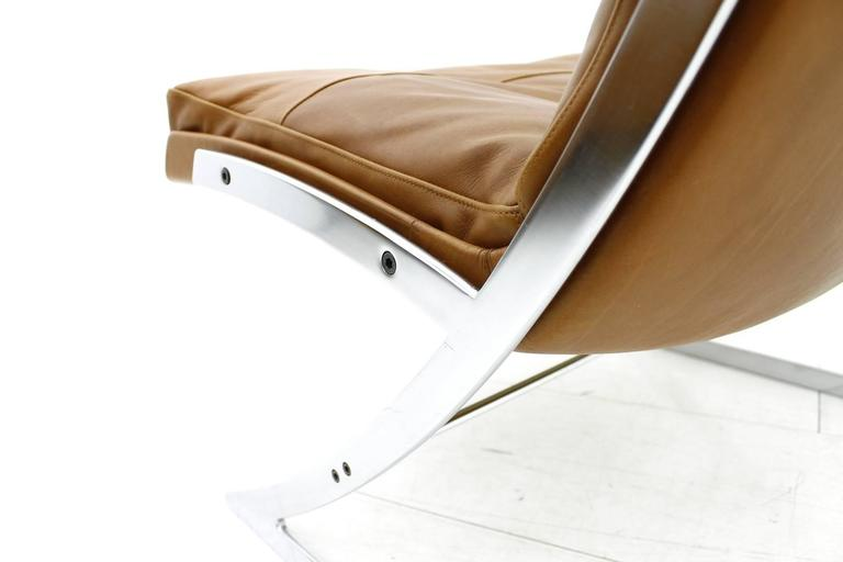 Scandinavian Modern Lounge Chair in Leather and Steel by Preben Fabricius for Arnold Exclusiv, 1972 For Sale