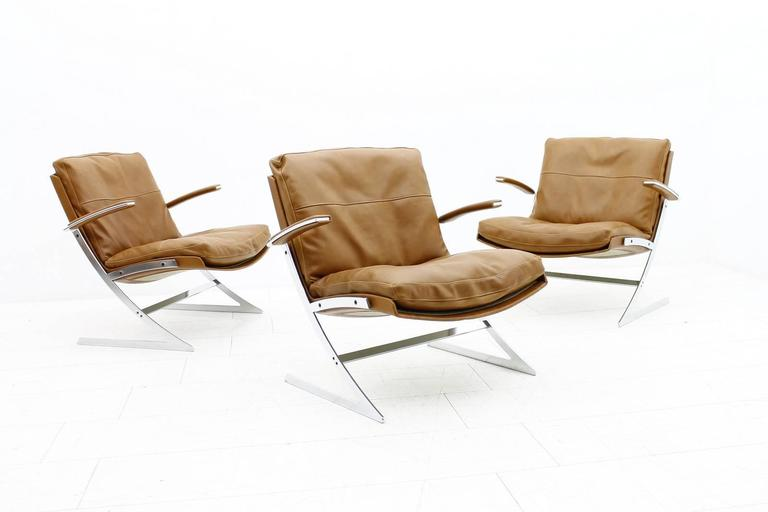 Lounge Chair in Leather and Steel by Preben Fabricius for Arnold Exclusiv, 1972 For Sale 2