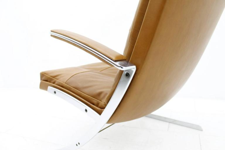 Lounge Chair in Leather and Steel by Preben Fabricius for Arnold Exclusiv, 1972 For Sale 1