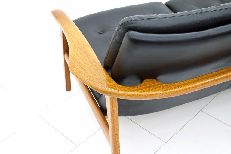Scandinavian Modern Leather and Teak Wood Sofa, 1960s