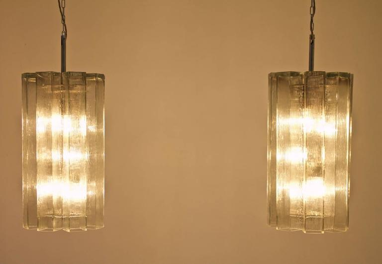 Set of Eight Large Glass Chandeliers by Doria, 1960s For Sale 1