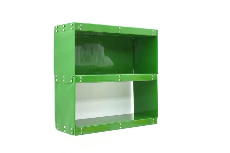 "Green plastic shelf from the ""Softline Series"" by Otto Zapf, 1971, InDesign / Zapf. Synthetic foil, press buttons. 
