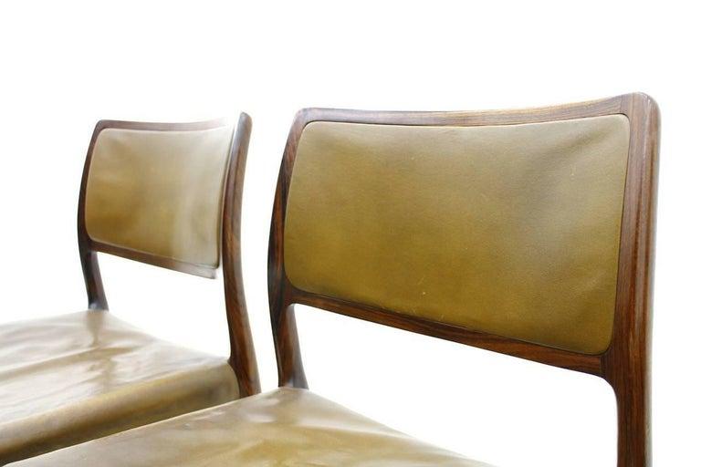 Niels O. Møller Dining Room Chairs Model 80 Danish Modern In Good Condition For Sale In Frankfurt / Dreieich, DE