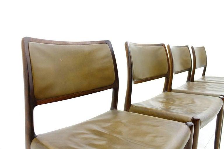Leather Niels O. Møller Dining Room Chairs Model 80 Danish Modern For Sale