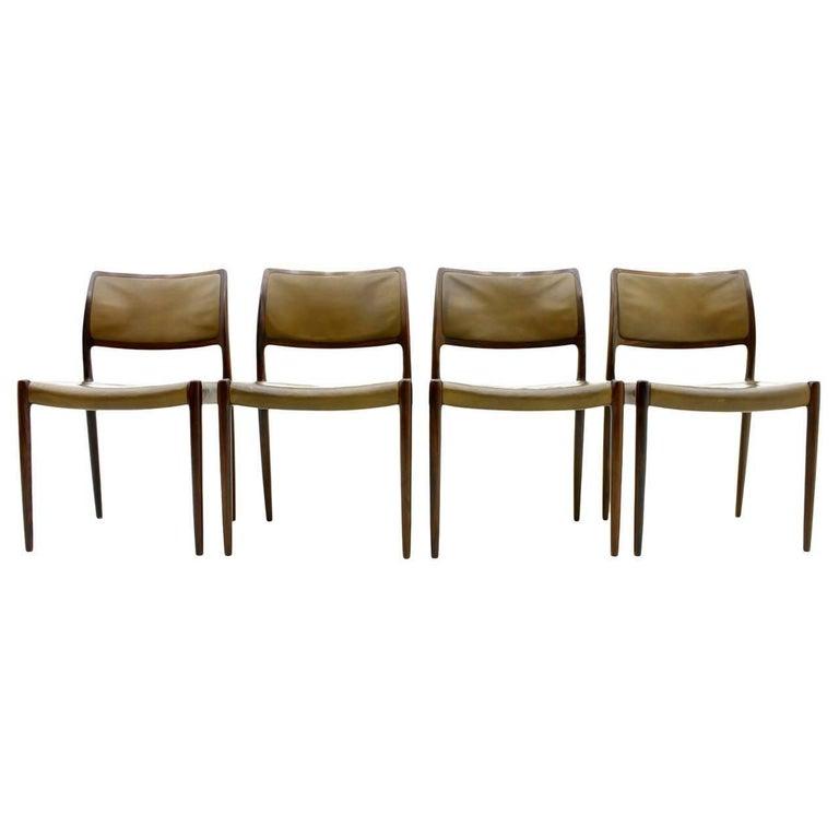 Niels O. Møller Dining Room Chairs Model 80 Danish Modern For Sale