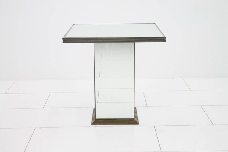 French Fully Mirrored Side or End Table, France, 1970s For Sale