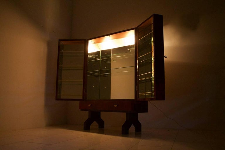 Illuminated Dry Bar by Aldo Tura In Red Goatskin, Italy, 1960s For Sale 1