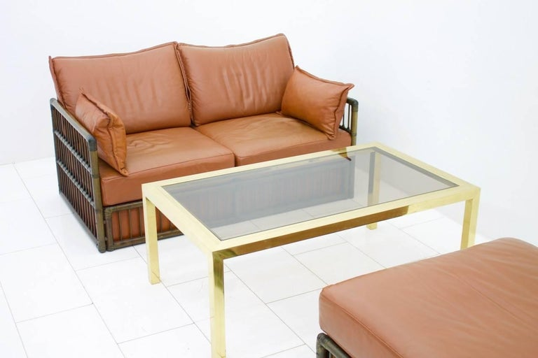 Two Person Leather Sofa and Foot Stool with Rattan For Sale 2