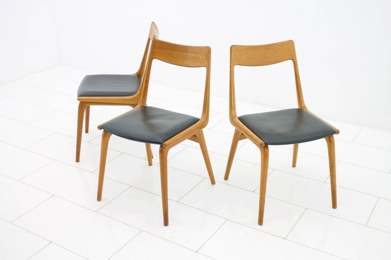 Scandinavian Modern Erik Christensen Boomerang Dining Chairs, Teak And  Leather, Denmark, 1950s For
