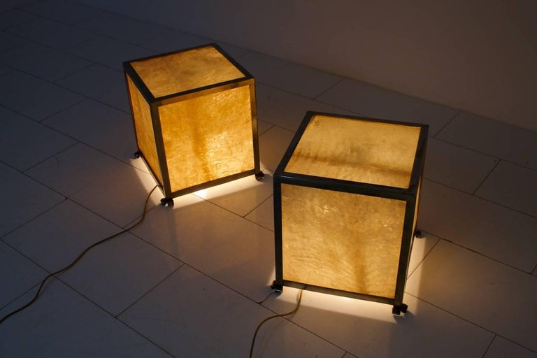 Rare pair of goatskin cube floor lamps by aldo tura italy 1950s at italian rare pair of goatskin cube floor lamps by aldo tura italy 1950s for sale aloadofball Images