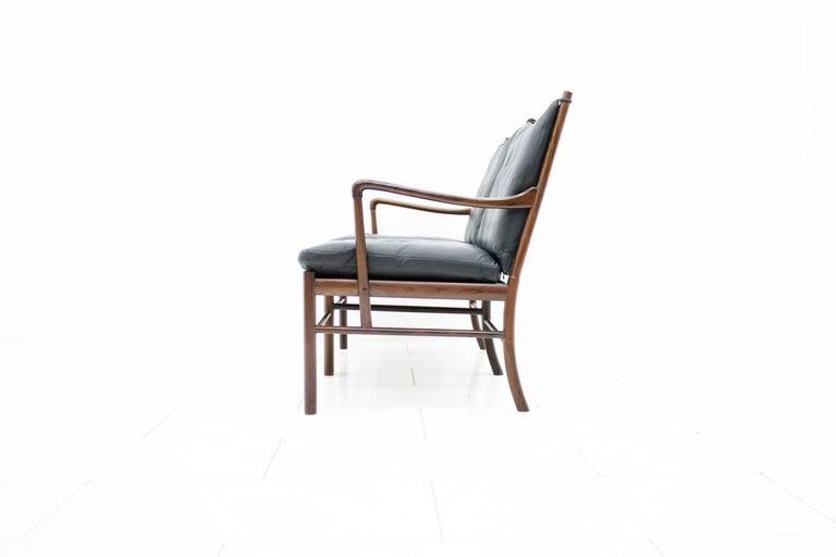 Scandinavian Modern Ole Wanscher Colonial Sofa PJ 149 Poul Jeppesen, Black Leather Settee For Sale