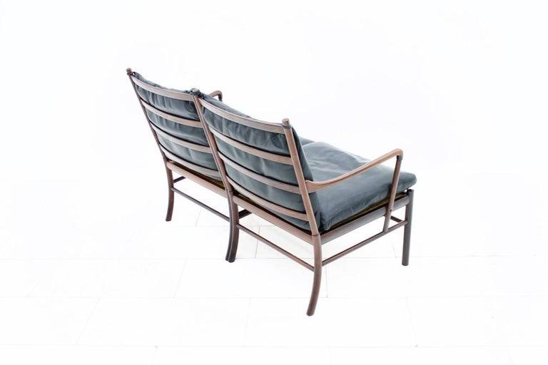 Ole Wanscher Colonial Sofa PJ 149 Poul Jeppesen, Black Leather Settee In Good Condition For Sale In Frankfurt / Dreieich, DE
