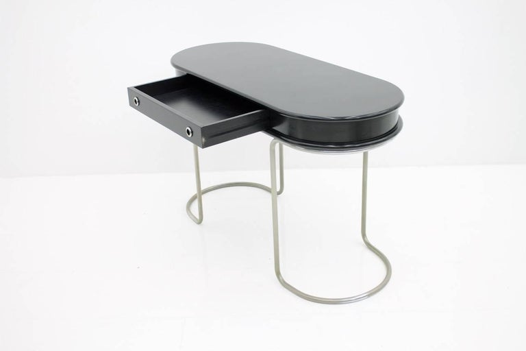 Mid-20th Century Black Ladies Desk Vanity Console Table, Italy, 1960s For Sale
