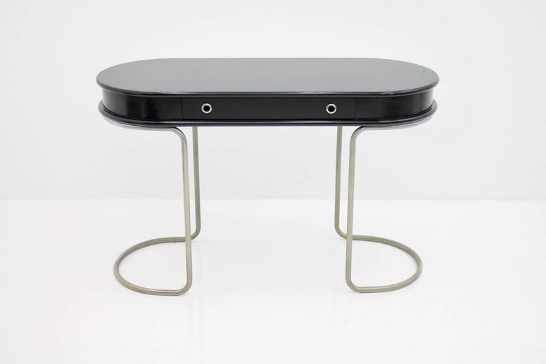 Italian Black Ladies Desk Vanity Console Table, Italy, 1960s For Sale