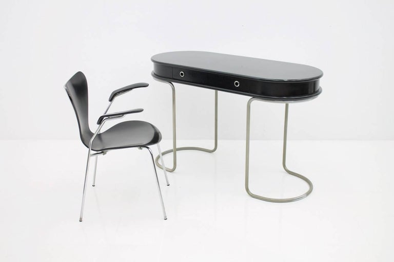Black Ladies Desk Vanity Console Table, Italy, 1960s For Sale 5
