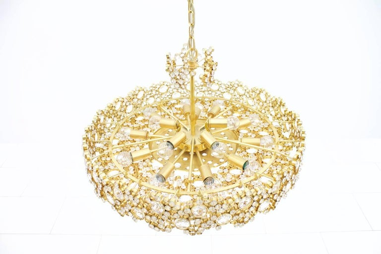Large Gilded Brass and Crystal Glass Chandelier by Palwa, Germany, 1960s 2