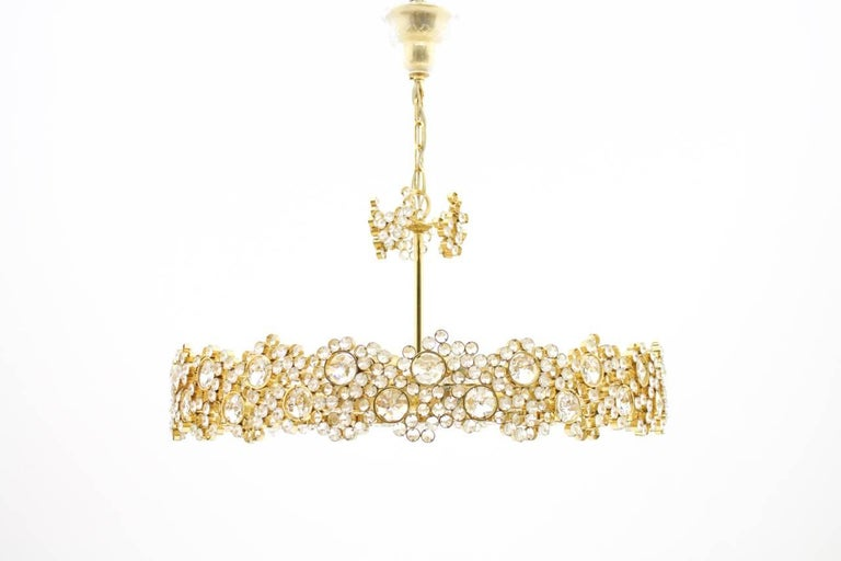 Large Gilded Brass and Crystal Glass Chandelier by Palwa, Germany, 1960s 3