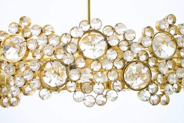 Large Gilded Brass and Crystal Glass Chandelier by Palwa, Germany, 1960s 4