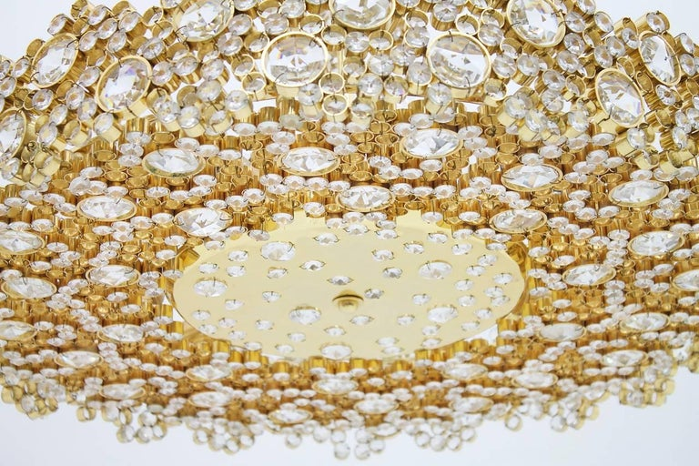 Large Gilded Brass and Crystal Glass Chandelier by Palwa, Germany, 1960s 5
