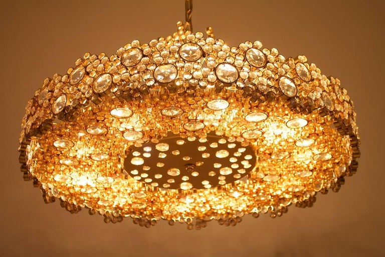 Large Gilded Brass and Crystal Glass Chandelier by Palwa, Germany, 1960s 6