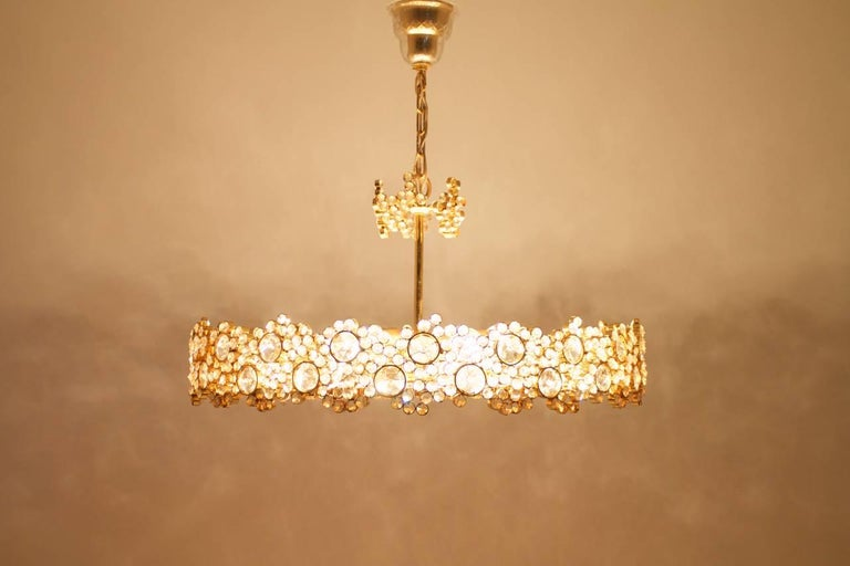 Large Gilded Brass and Crystal Glass Chandelier by Palwa, Germany, 1960s 7