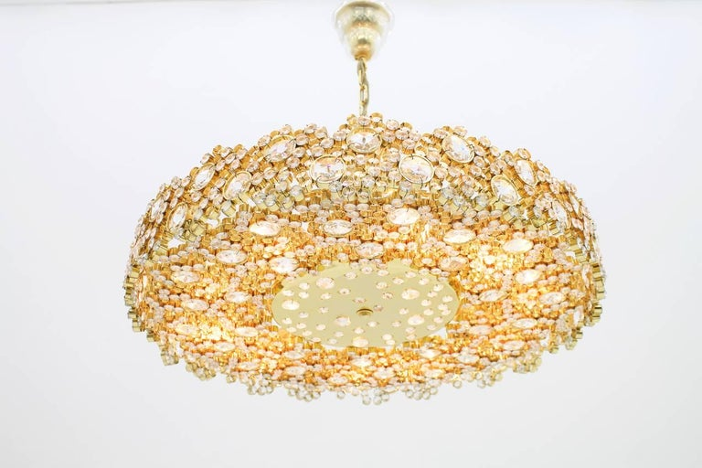 Large Gilded Brass and Crystal Glass Chandelier by Palwa, Germany, 1960s 8