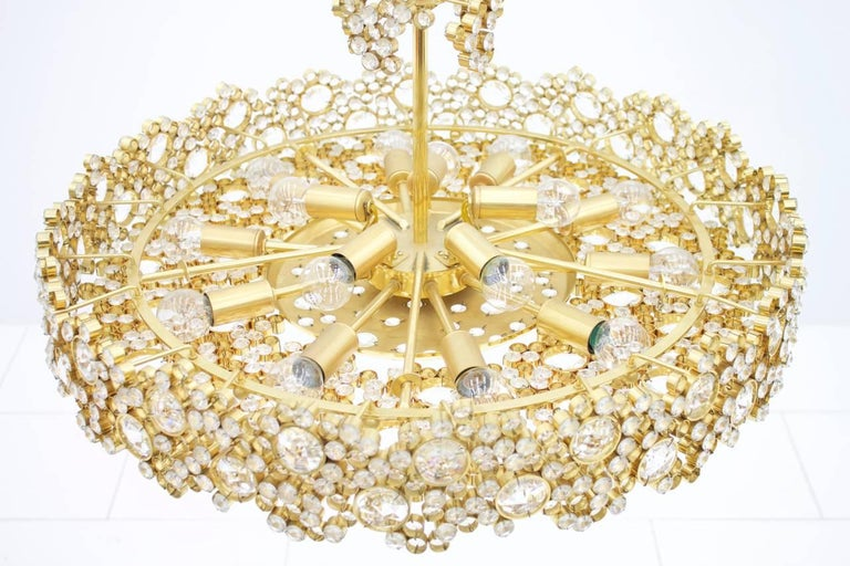 Large Gilded Brass and Crystal Glass Chandelier by Palwa, Germany, 1960s 9