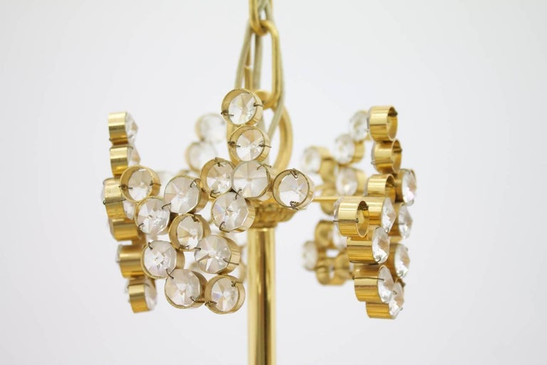 Large Gilded Brass and Crystal Glass Chandelier by Palwa, Germany, 1960s 10
