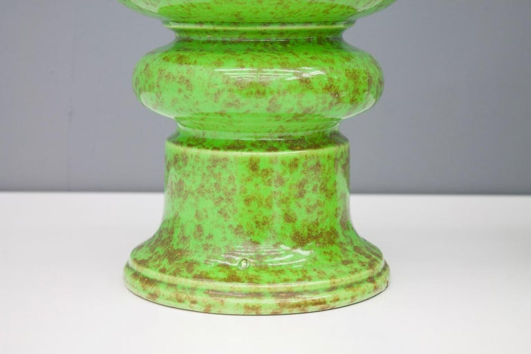 Late 20th Century Pair of Green Ceramic Table Lamps, 1970s For Sale