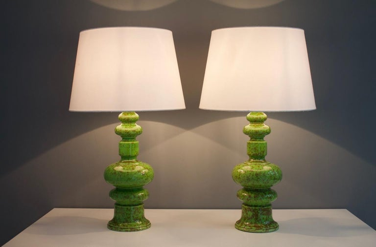 Mid-Century Modern Pair of Green Ceramic Table Lamps, 1970s For Sale