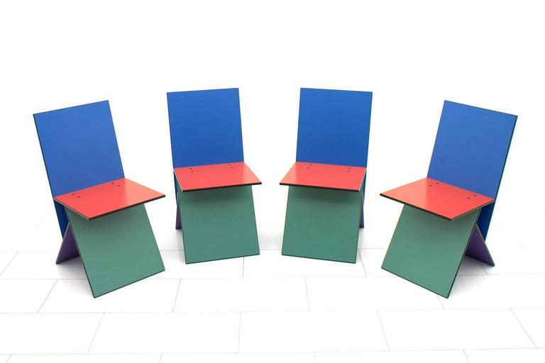 Late 20th Century Set of Four Verner Panton Vilbert Chairs, 1993 For Sale