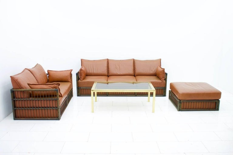 Two Person Leather Sofa and Foot Stool with Rattan For Sale 3