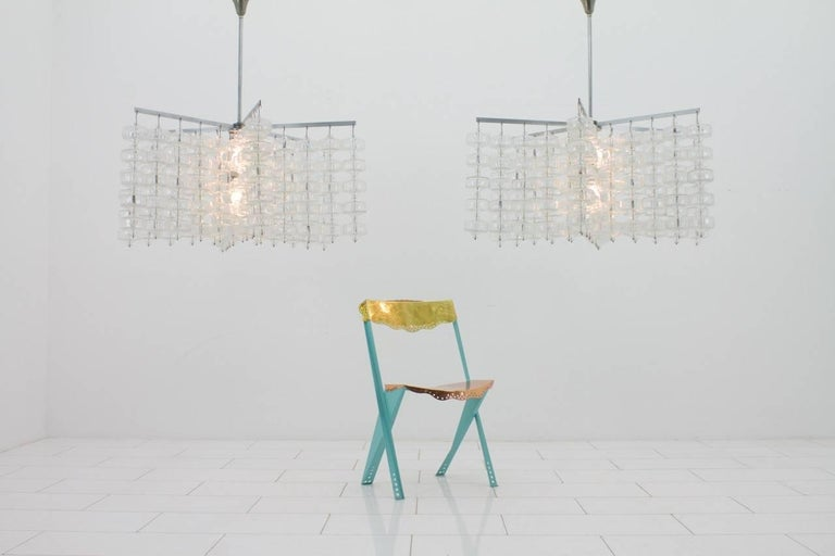 Huge Glass and Steel Chandelier by Alois Gangkofner Germany 1965 5