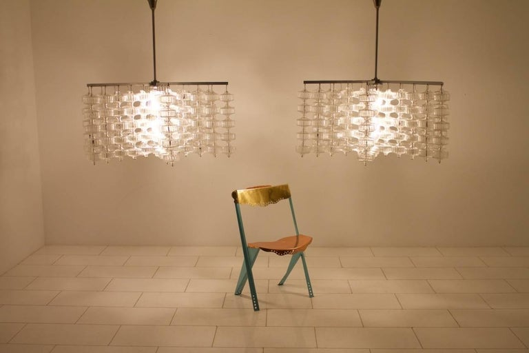 Huge Glass and Steel Chandelier by Alois Gangkofner Germany 1965 8