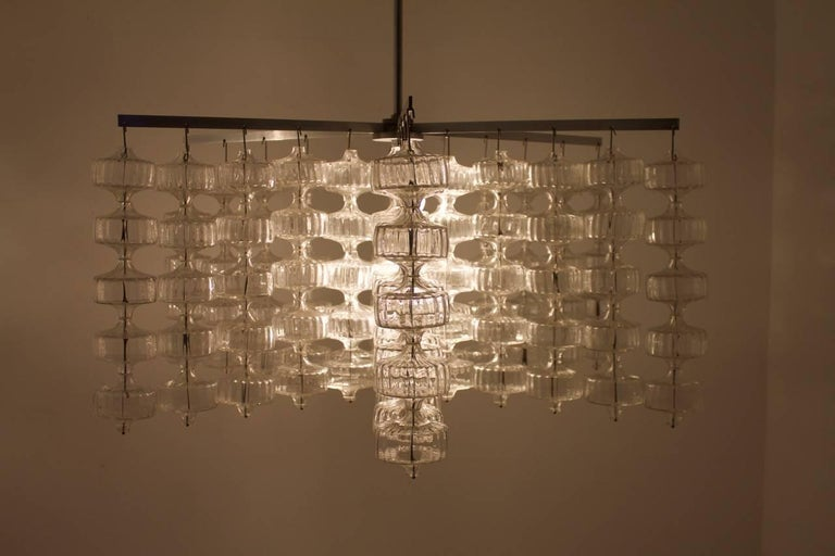 Huge Glass and Steel Chandelier by Alois Gangkofner Germany 1965 2