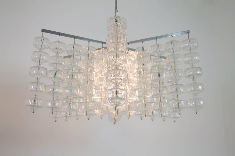 Huge Glass and Steel Chandelier by Alois Gangkofner Germany 1965 6